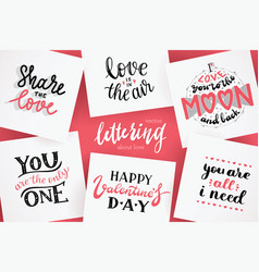 Lettering for valentines day quotes about love vector