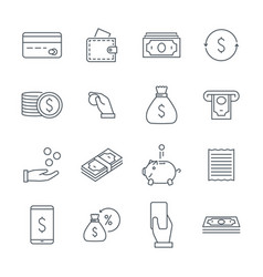 linear money icons set money and coins a bag of vector image
