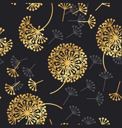 Luxury gold geometric dandelion flowers on black vector