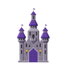 Medieval fairytale castle with towers ancient vector