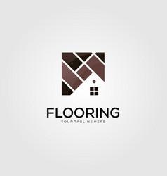 Minimalist home flooring logo template vector
