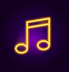 Music note neon sign vector