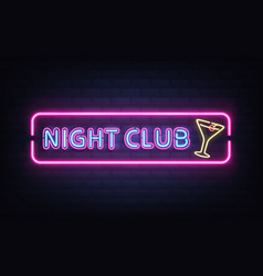 night club cocktail bar neon signboard vector image