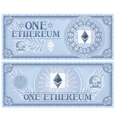 One ethereum abstract banknote vector