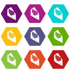 open envelope icons set 9 vector image