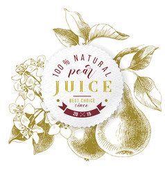 pear juice paper emblem over hand drawn pear vector image