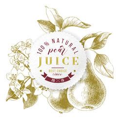 Pear juice paper emblem over hand drawn vector