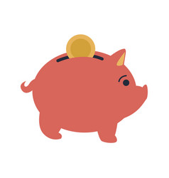 pink piggy put coin money banking vector image