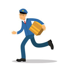 postman in blue uniform running delivering parcel vector image