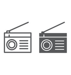 radio line and glyph icon fm and sound vector image