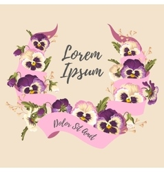 Ribbon and pansies vector