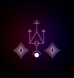 Sacred geometry symmetrical drawings with glitch vector