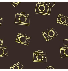 seamless background with photo camera symbols vector image