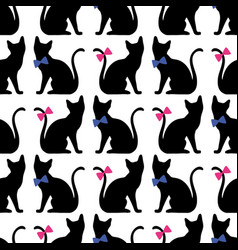 seamless pattern with black cat silhouette vector image