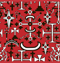 seamless pattern with fantasy crosses 9 vector image