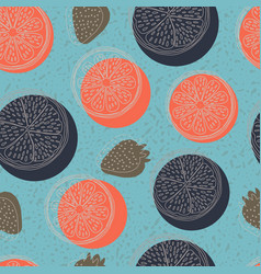 seamless pattern with lemons orange vector image