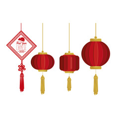 Set icons decoration happy new year chinese vector
