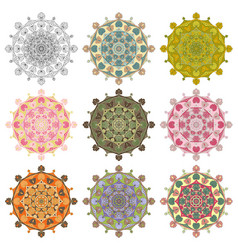 Set mandala different color 43 vector