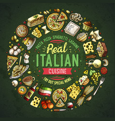 Set of italian food cartoon doodle objects vector