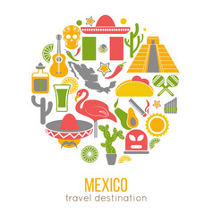 Set of mexico travel symbols mexican flat vector