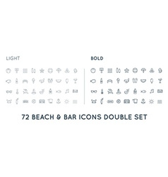 Set of thin and bold beach sea bar elements vector