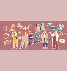 Set stickers refer friend theme paper airplane vector