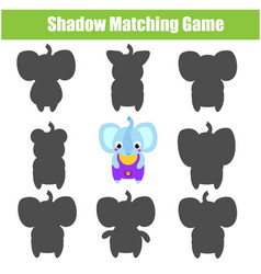 Shadow matching game kids activity with cartoon vector