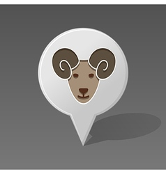 Sheep pin map icon Animal head vector