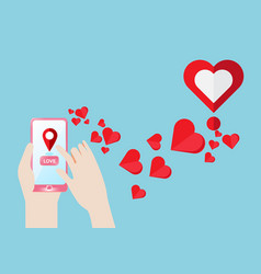 smartphone gps navigate find to love heart vector image