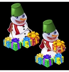 Snowman with a bucket on head gives gifts vector