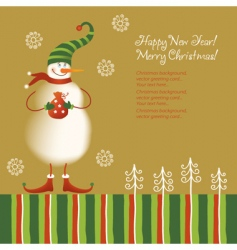 snowman with present vector image