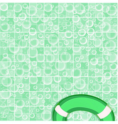 Soap bubbles on tiled green and white bathroom vector