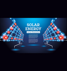 solar energy concept solar panel from neon lines vector image