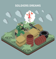 soldiers dreams isometric composition vector image