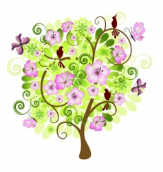 spring decorative tree vector image