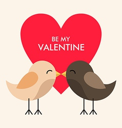 St Valentines day greeting card in flat style Two vector image