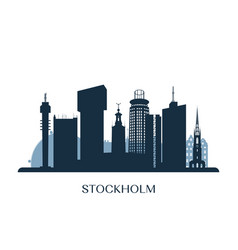 stockholm skyline monochrome silhouette vector image