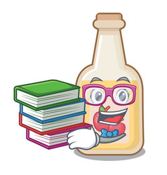 Student with book bottle apple cider above cartoon vector