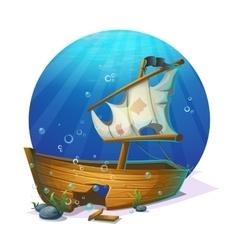 Sunken pirate schooner on sandy bottom of ocean vector image vector image