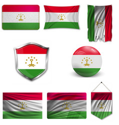 Tajikistan flag isolated national flag vector