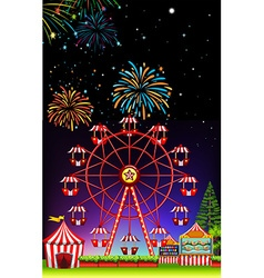 Theme park at night with firework vector image