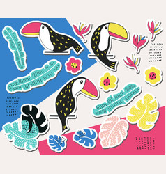 toucan floral sticker collection vector image