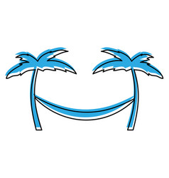 tree palm beach with hammock vector image