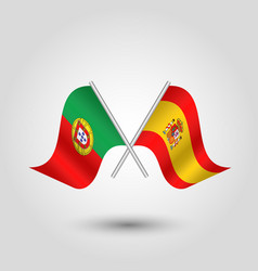 Two crossed portuguese and spanish flags vector