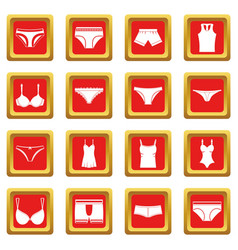 Underwear items icons set red vector