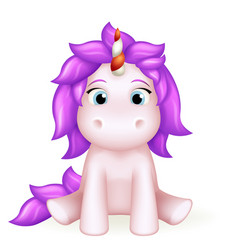 unicorn 3d cute toy cartoon character design vector image
