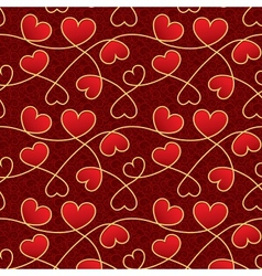 Valentine day texture with red hearts vector image