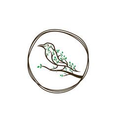 vintage bird leaf logo concept design vector image