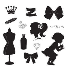 Vintage elements set silhouettes vector image
