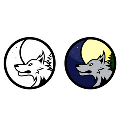 Wolf medal vector